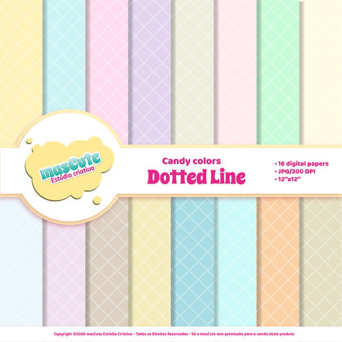 Papel digital dotted line candy color