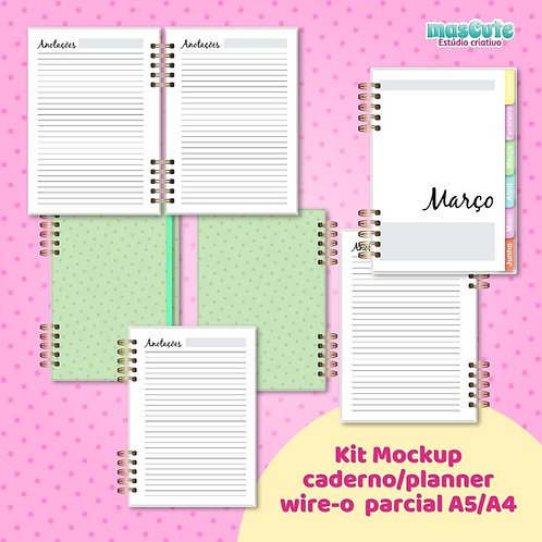 Kit Mockup planner/caderno wire-o parcial A5/A4