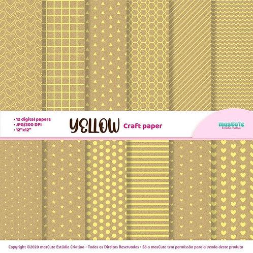 Papel digital textura de papel craft estampa em amarelo