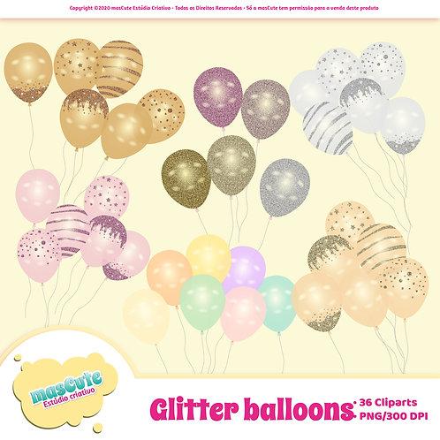 Kit digital cliparts -Balões de Glitter