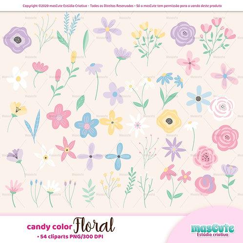 Candy color Floral  - Kit Digital Clipart