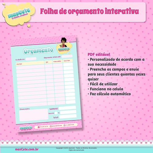 Folha de orçamento interativa