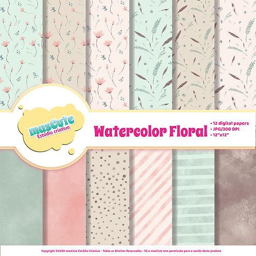 Papel digital Floral Aquarela
