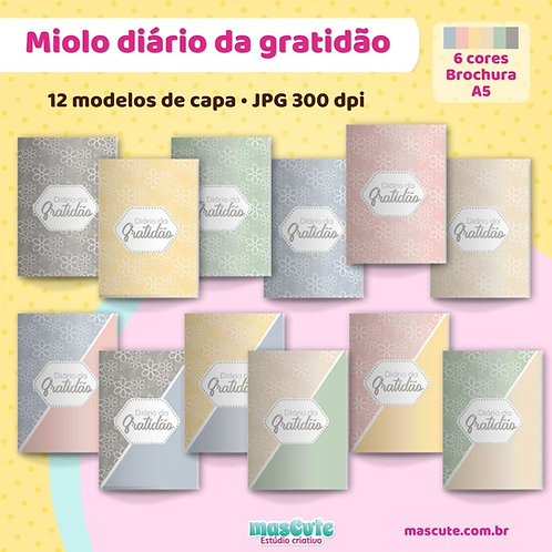 Miolo para caderno diário da gratidão  3 dias por página   Brochura    A5