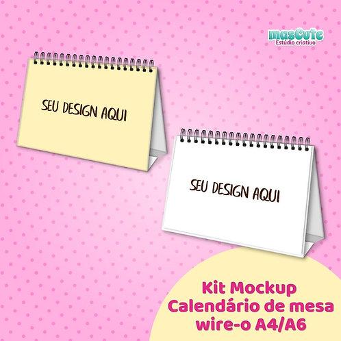 Kit Mockup calendário de mesa  wire-o A5/A6