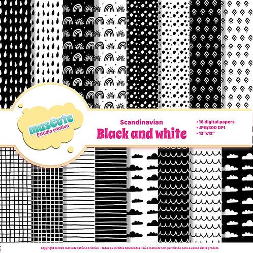 Papel digital Escandinavo preto e branco