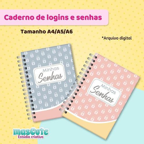 Miolo para caderno de logins e senhas - A4/A5/A6 e brochura