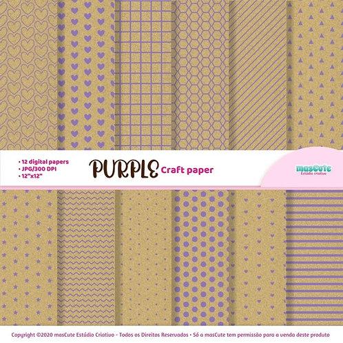 Papel digital textura de papel craft estampa em roxo