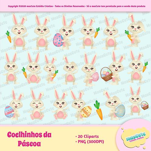 Coelhos da páscoa - Kit Digital Cliparts