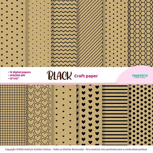 Papel digital textura de papel craft estampa empreto