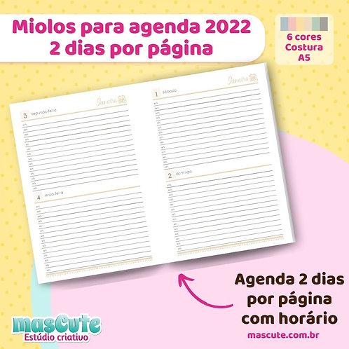 Miolo para agenda 2022   2 dias por página   Datada   Costura