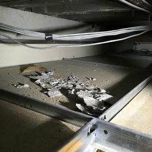 Asbestos insualtion board debris