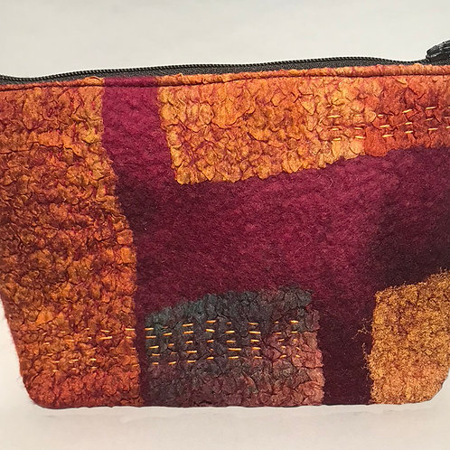 Red Felted Bag with Boro Stitching