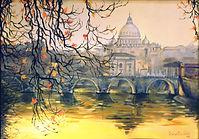 Rome - San Pietro sunset - Oil on canvas - Carla Desantis Painter