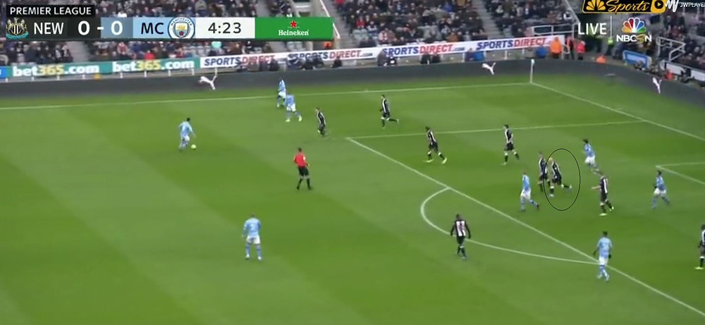 Shelvey in the defence to complete low block