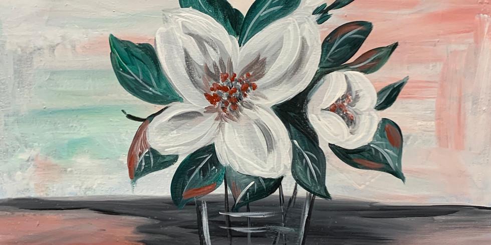 Virtual Artsy Party! Centerpiece Of Magnolias!