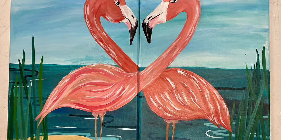 flirting flamingo -Virtual/In person Artsy Party