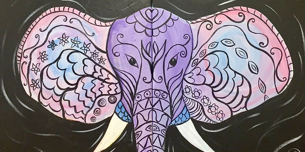 Boho Elephant! Couples Night -Virtual and In- Person  Artsy Party - SOLD OUT