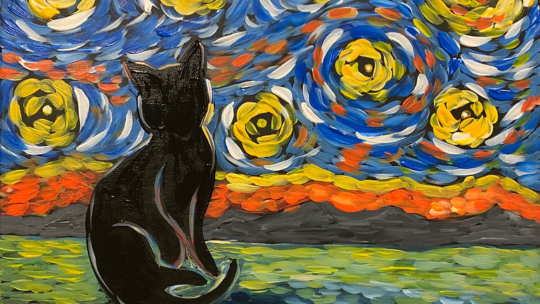 Starry Night Cat! Virtual or In- Person Artsy Party!