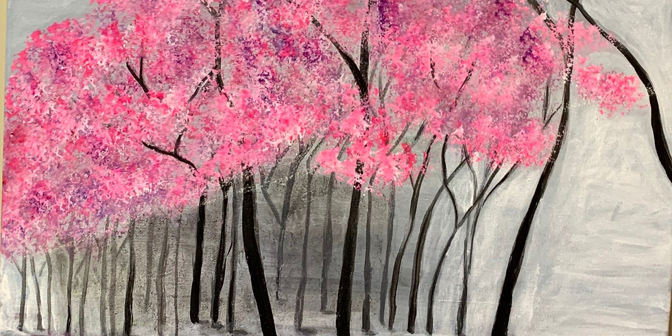 Cherry Blossom's Afternoon! Virtual or In- Person Artsy Party!