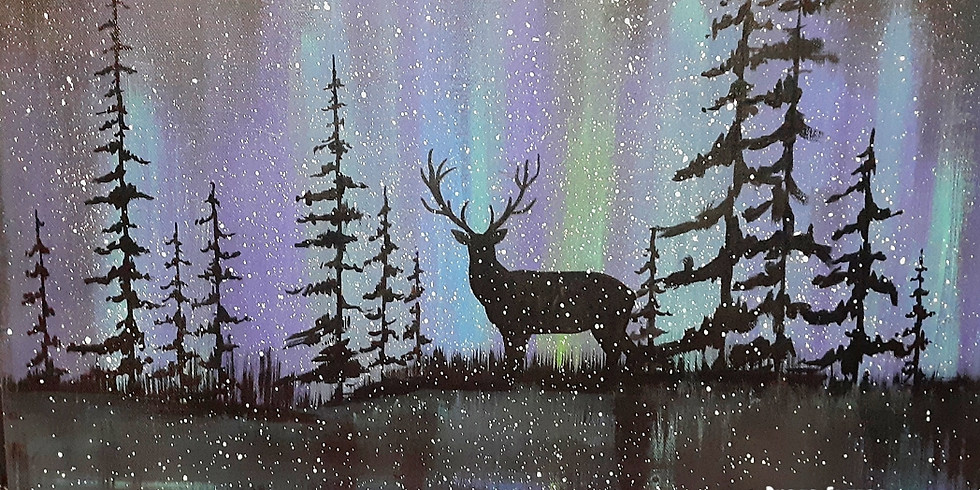 Northern Lights With Deer-Public Artsy Party