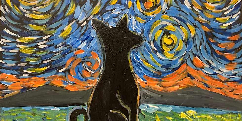 Private-Virtual Artsy Party!-Paint Your Starry Night Pet! Hosted By Canine Country Academy !