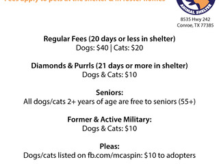 Adoption fees as of 1/18/17