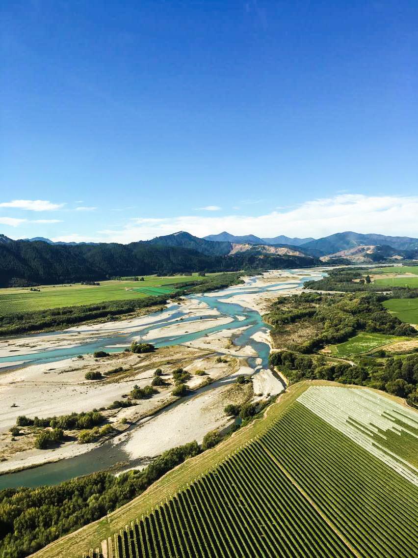 Wairau river - z vrtulníku