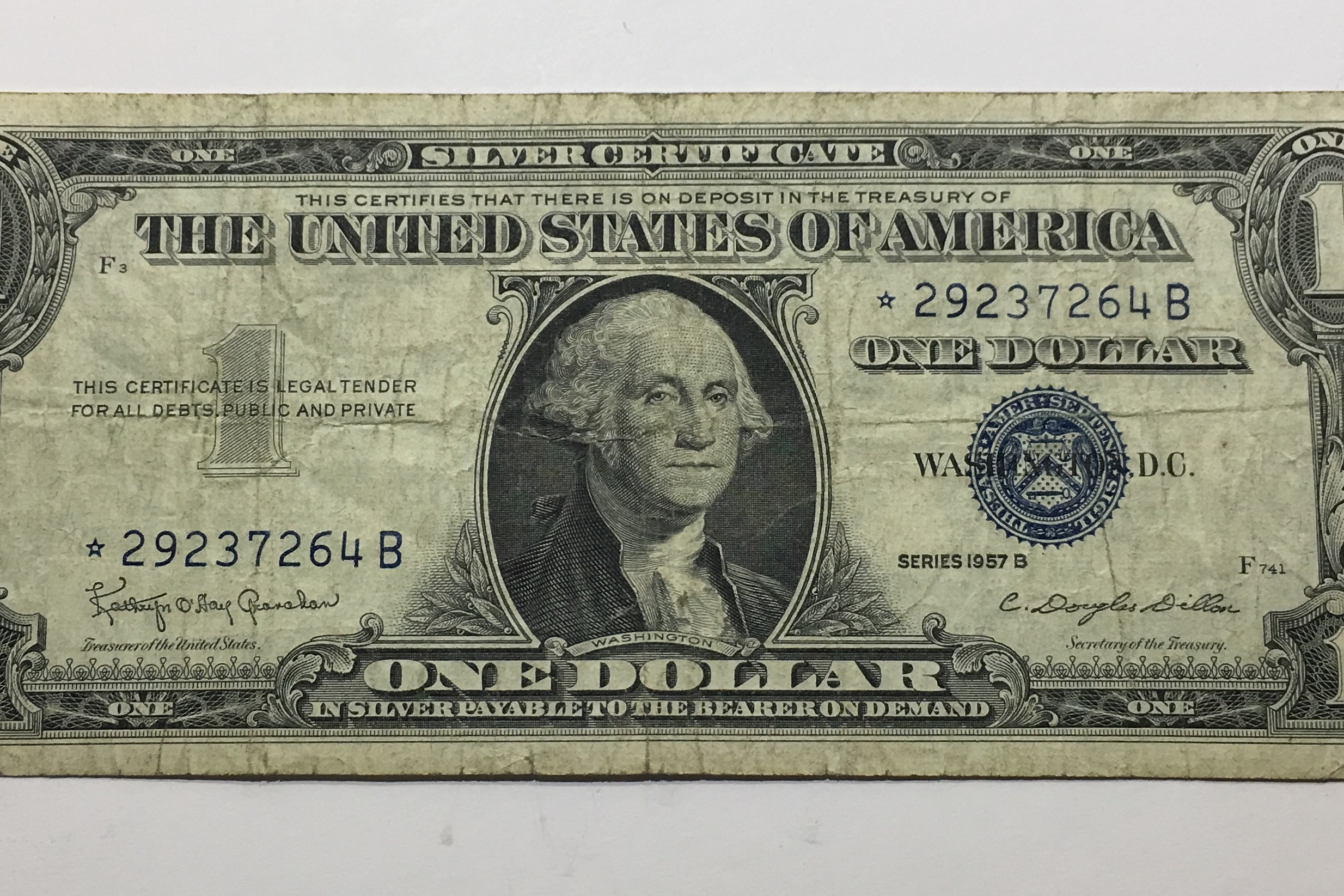 Silver certificate dollar bill 1957 star note best design 1957 star silver certificate one dollar bill xflitez Images