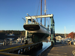 Spring Sailboat Launch in Maine