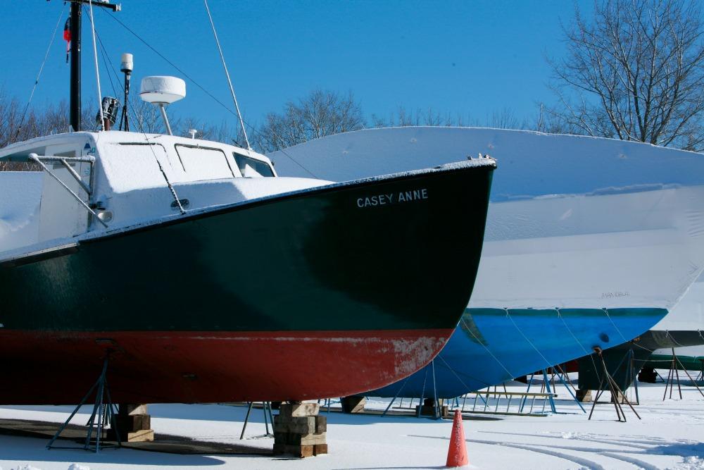 Winter Lobsterboat Storage Maine