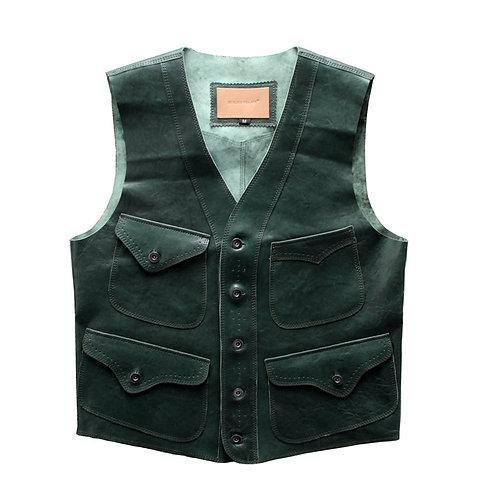 Green Lambskin Leather Summer Vest