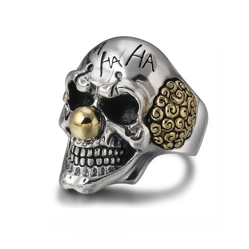 Clown skull rings sterling silver 925 mens adjustable ring fashion jewelry gift