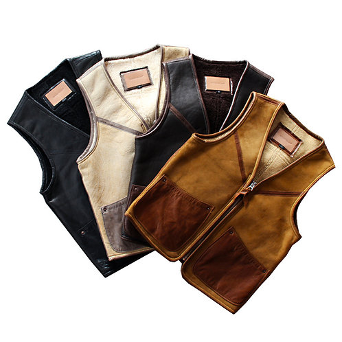 Men's Warm Lambskin Leather Vest