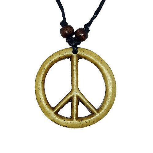 Peace Symbol Necklace | Tan