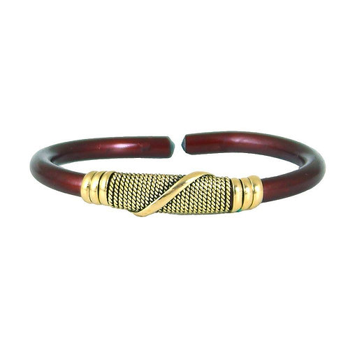 Burgundy/Gold Twist Metal Bracelet
