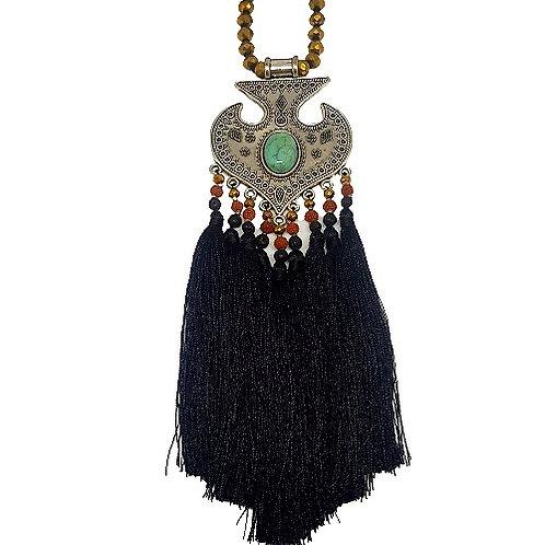 Moroccan Fringe Necklace | Black