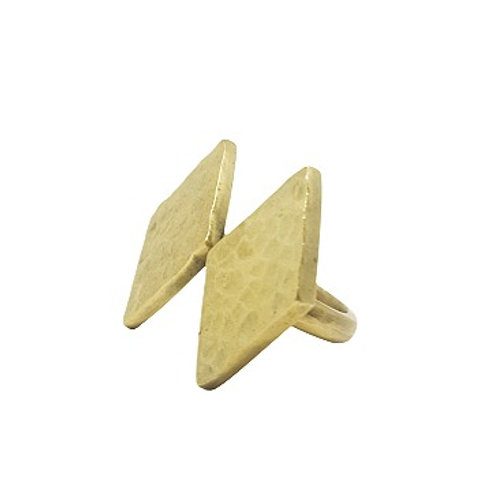 Brass Double Diamond Ring
