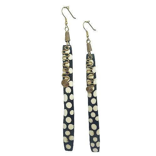Xtra Long Brass | Batik Bone Earrings