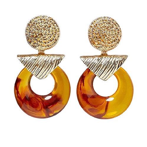 Amber Resin Hoop Earrings