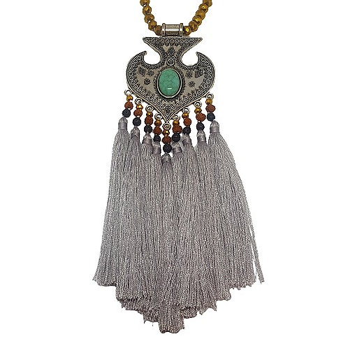Moroccan Fringe Necklace | Gray