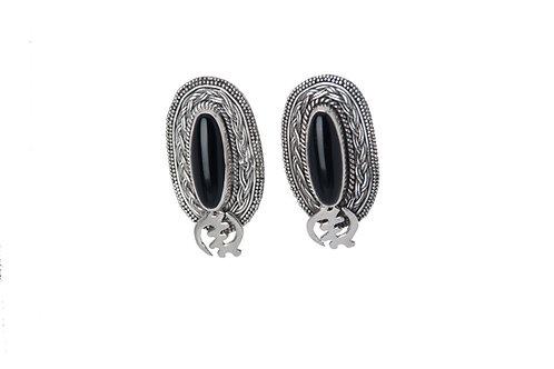 Oval Stone Gye Post Earrings