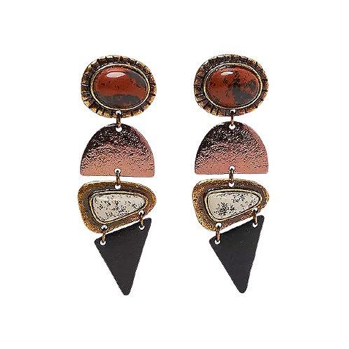 Geometric Stone Drop Earrings