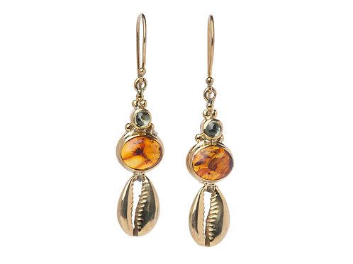 Cowry 2 Stone Earrings