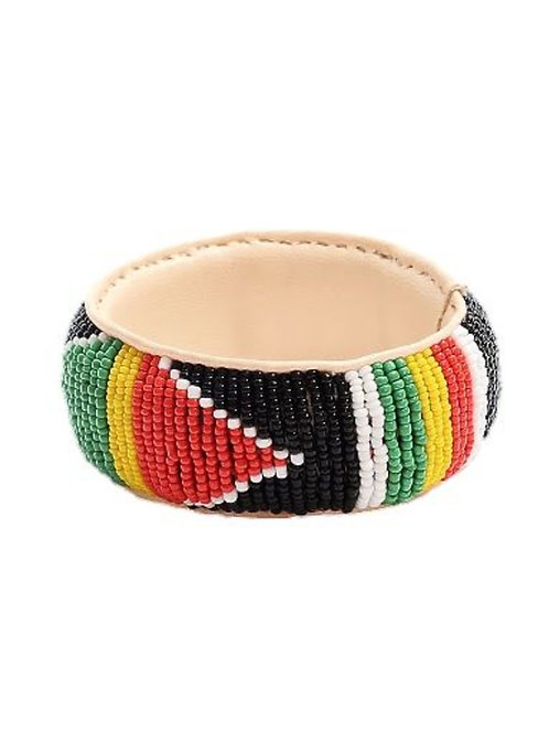 African Beaded | Leather Bracelet