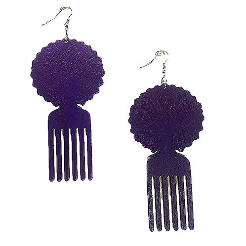 Afro Pick | Wood Earrings