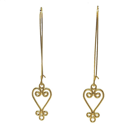 Gold Sankofa Drop Earrings