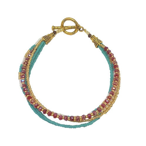 Crystal Bead Bracelet | Turquoise & Red
