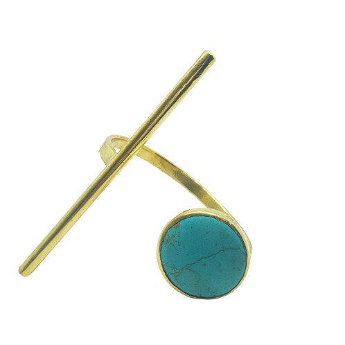 Turquoise & Brass Bracelet | Arm Cuff