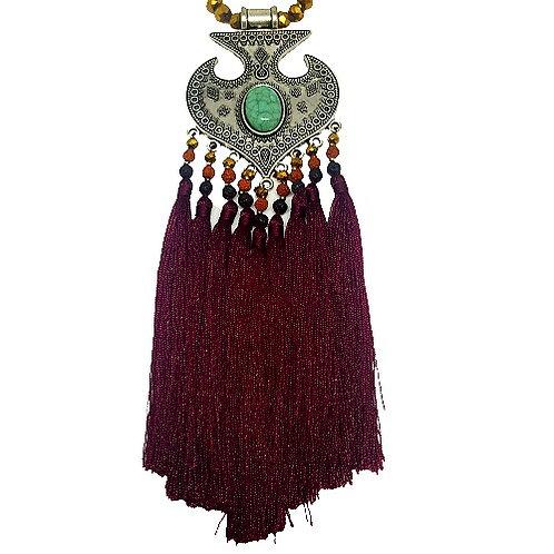 Moroccan Fringe Necklace | Burgundy
